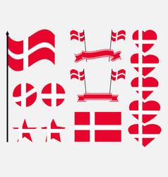 Denmark flag set collection of symbols flag vector