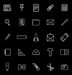 Stationery line icons on black background vector image