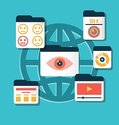 concept of user experience and interaction with vector image