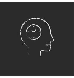 Time icon drawn in chalk vector