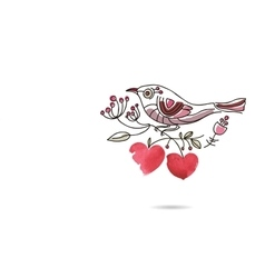 Romantic picture of a bird sitting on a blooming vector