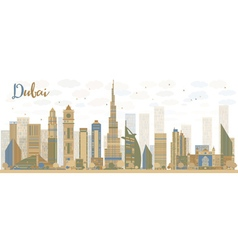 Abstract dubai city skyline vector