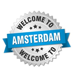 Amsterdam 3d silver badge with blue ribbon vector