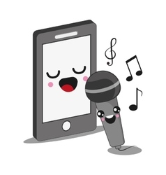 Smartphone and microphone icon kawaii and vector