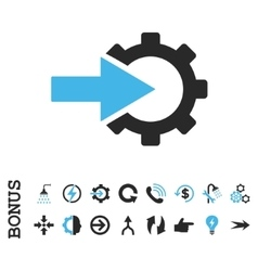 Cog integration flat icon with bonus vector