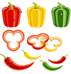 Bell peppers and Chili vector image