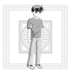 Boy anime male manga cartoon icon graphic vector