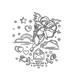 Boy cupid shooting from bow vector