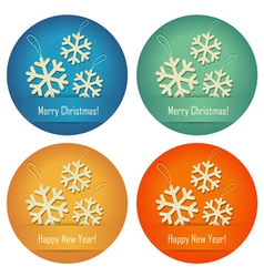 Christmas bubbles with crumpled paper snowflakes vector image