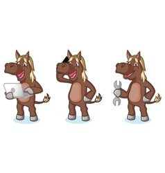 Dark Brown Horse Mascot with phone vector image vector image