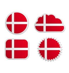 Denmark flag labels vector image vector image