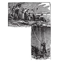 Early scuba diving vintage vector