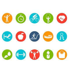fitness round buttons icons set vector image vector image