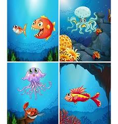 Four scenes of sea animals in the sea vector image vector image