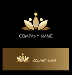 gold lotus flower beauty logo vector image vector image