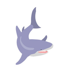 great white shark cartoon flat vector image vector image