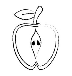 Half apple food diet healthy sketch vector