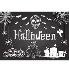 hand drawn halloween on chalkboard vector image vector image
