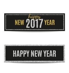 Happy new year 2017 banners silver and golden text vector