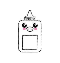 Kawaii glue bottle icon vector