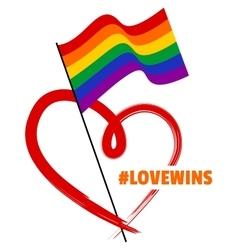 Lgbt rainbow flag and heart vector