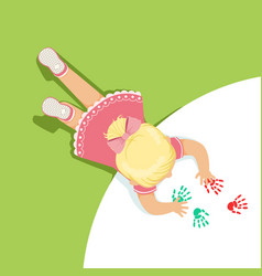 little blonde girl in a pink dress lying on her vector image vector image