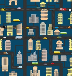 Night city pattern skyscrapers and transportation vector