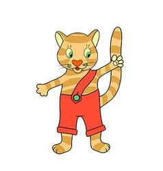 Painted kitten waving paw vector