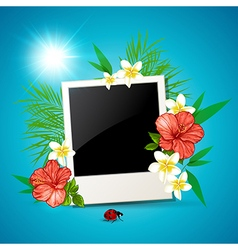 Photo and tropical flowers vector