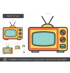 Retro tv line icon vector