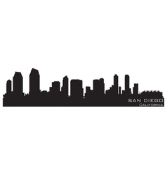 san diego california skyline detailed silhouette vector image