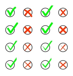 Set of Check Marks and Xs vector image