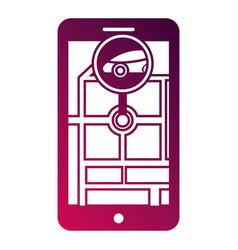 smartphone gps navigation map and pin car app vector image