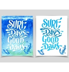 Surf days watercolor greeting cards vector image