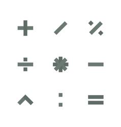 Symbol set of mathematical operations vector