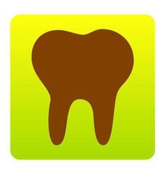 Tooth sign brown icon at vector