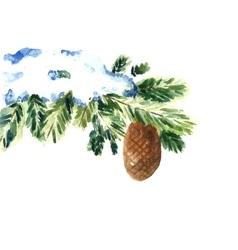 Watercolor snow christmas branch vector image