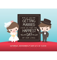 Wedding invitation board groom bride cartoon vector