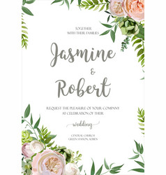 wedding invitation flower invite card design vector image vector image