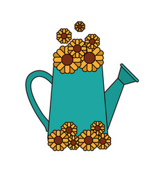 white background with watering can and sunflowers vector image