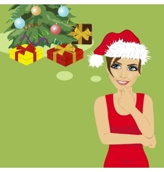 young woman in santa hat thinking about gifts vector image