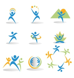 Health nature yoga business social icons logos vector image