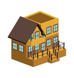 Silhouette colorful house with two floors vector