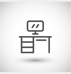 Office table line icon vector
