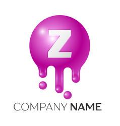 Z letter splash logo purple dots and bubbles vector