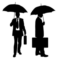 Set of businessmen with umbrellas vector