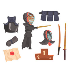 Japanese kendo sword martial arts fighter armor vector