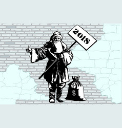 2018 new year santa claus hitchhiker with a bag of vector