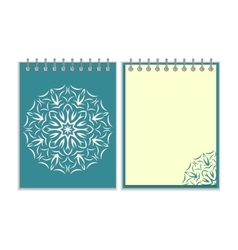 Blue cover notebook with round florwer pattern vector