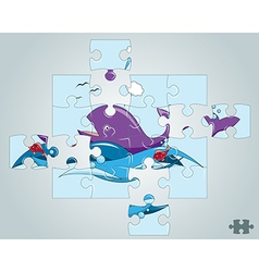Puzzle fish on the waves in the ocean vector
